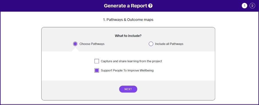 OutNav screen shot reporting choose pathways