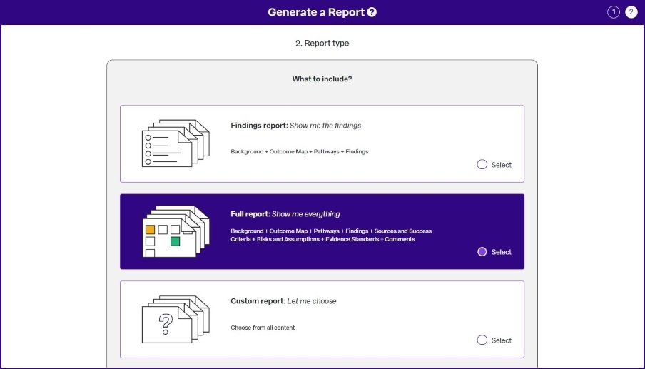 OutNav screen shot reporting choose report type