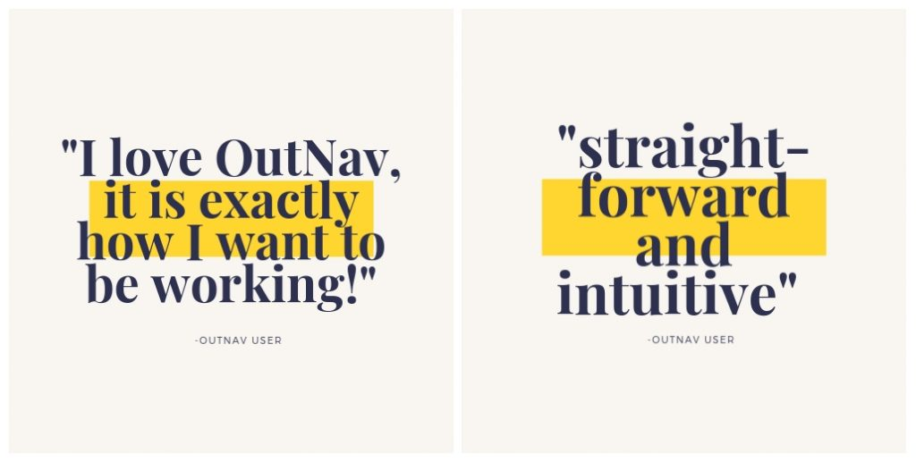 OutNav client feedback quotes as graphics