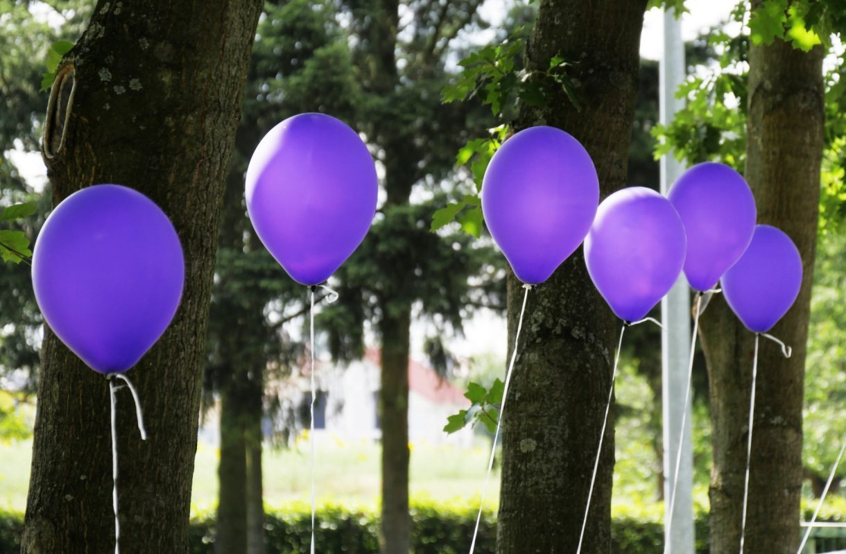 Purple balloons in a park
