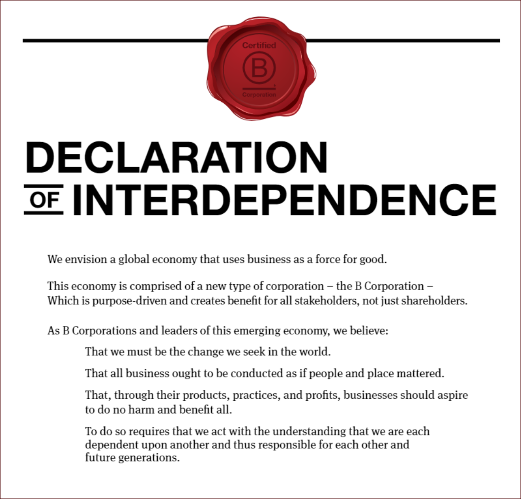 The Certified B Corporation Declaration of Interdependence