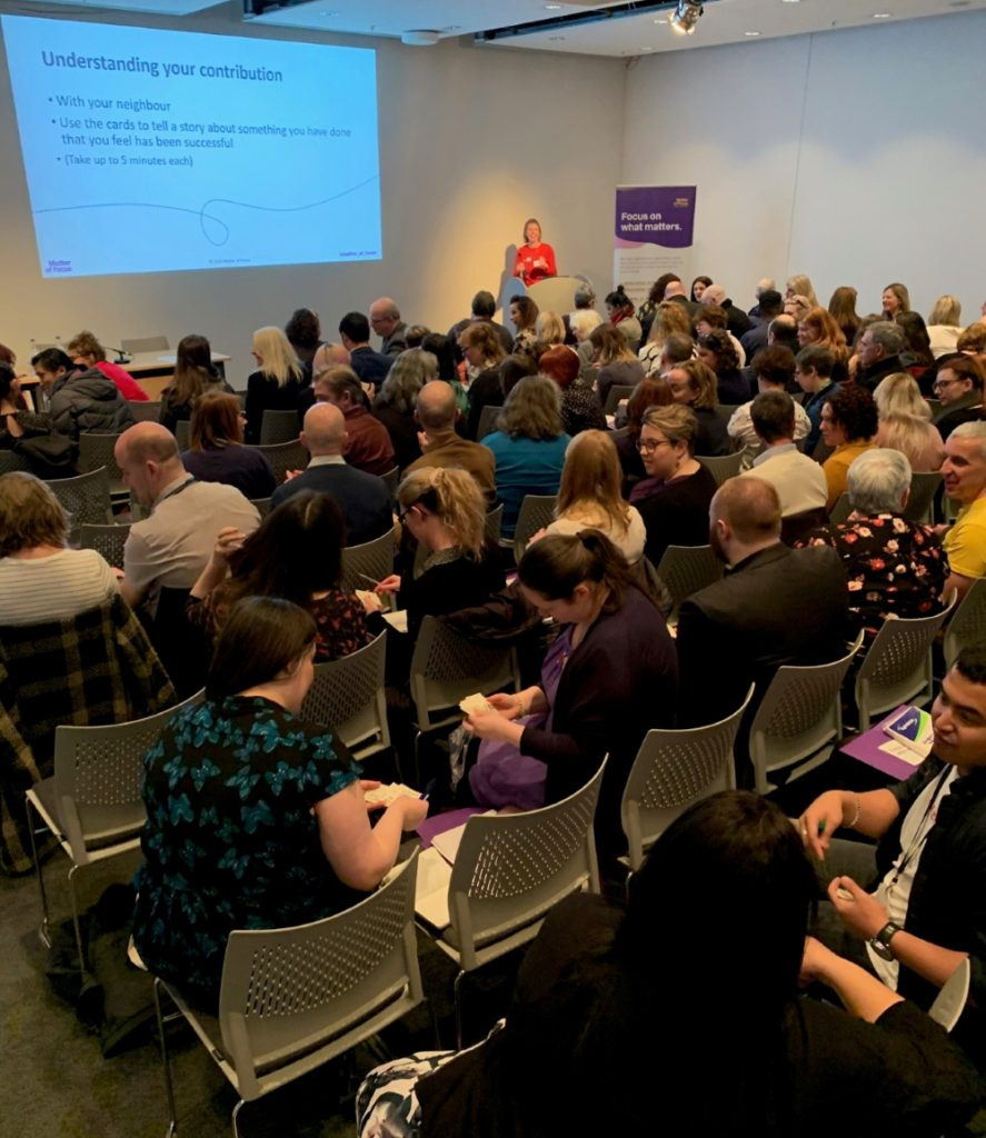 Ailsa Cook Matter of Focus presenting in front of an audience at The Gathering 2020