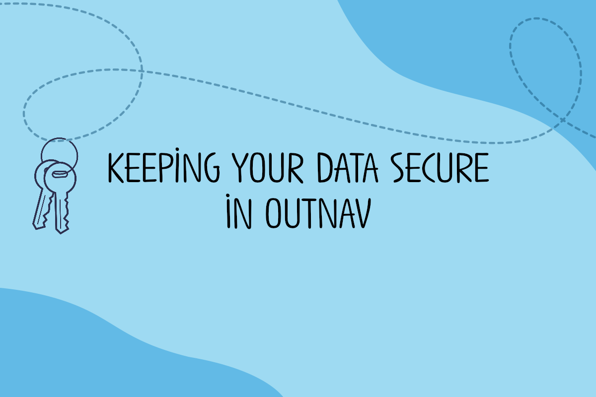 Keys hang from a loop and text reads Keeping your data secure in OutNav
