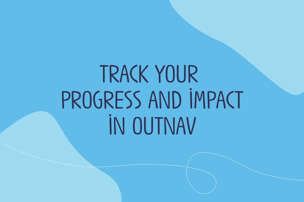 Text reads: Track your progress and impact in OutNav