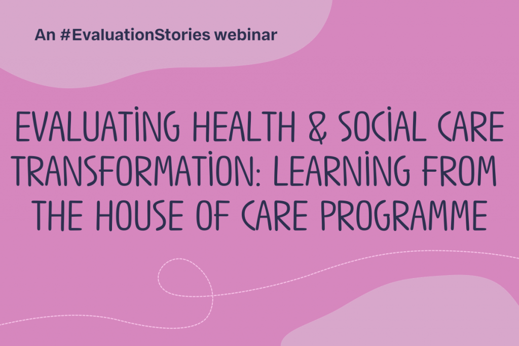 Text reads: Evaluating health and social care transformation_learning from the House of Care programme