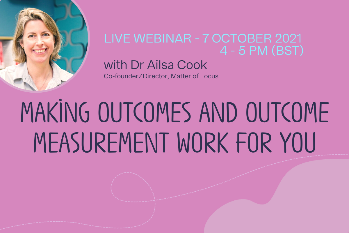 Title of webinar. Reads Making outcomes and outcome measurement work for you. Live webinar with Dr Ailsa Cook. 7 October 2021, 4 til 5 PM (BST)