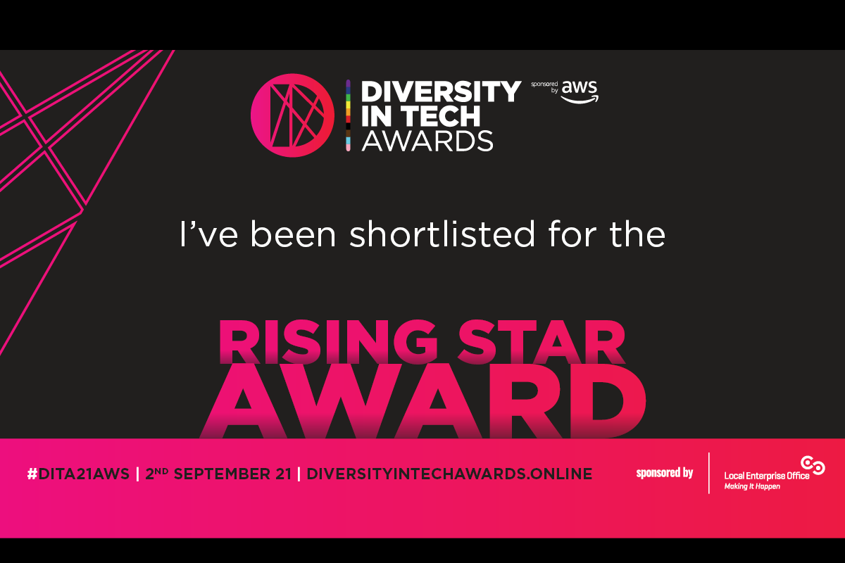 Text reads Diversity in Tech Awards I've been shortlisted for the Rising Star Award